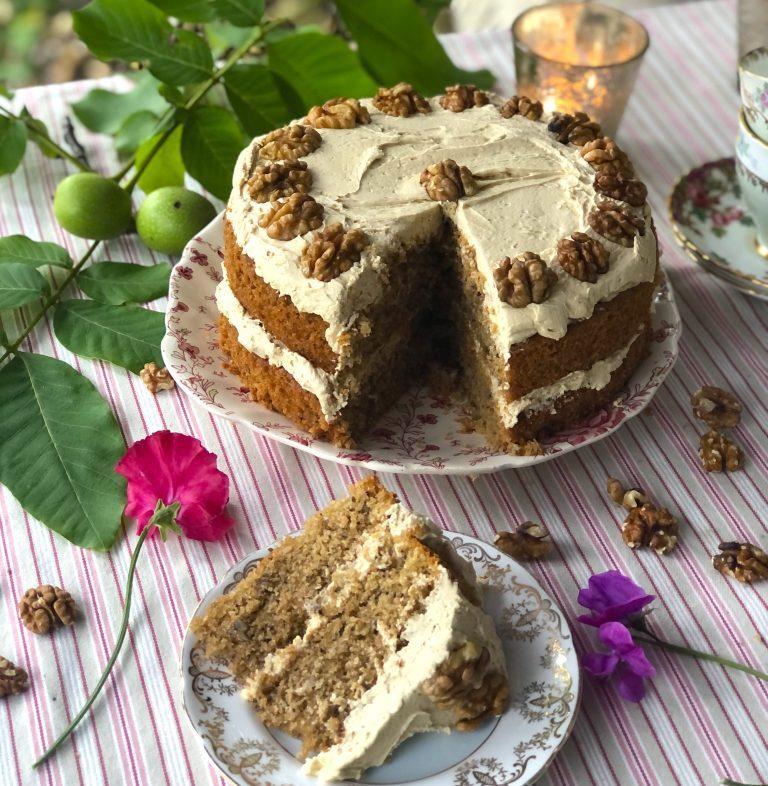 Autumnal Coffee and Walnut Cake